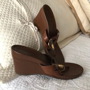 BCBG leather wedge sandals